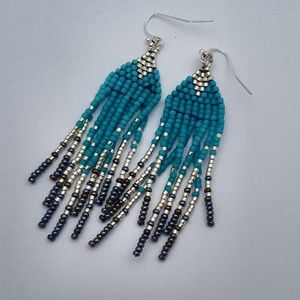 Turquoise and silver fringe earrings